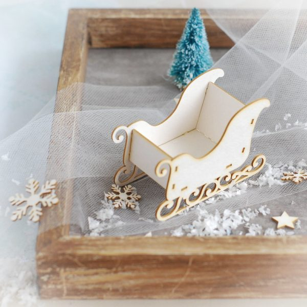 3d santa sleigh decorative laser cut chipoard