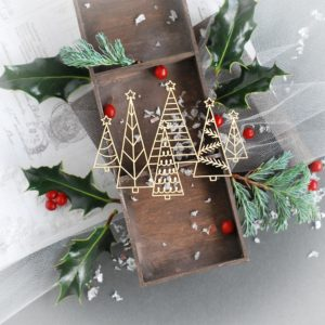 christmas trees decorative laser cut chipboard element