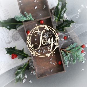 christmas wreath frame with joy decorative laser cut chipboard element