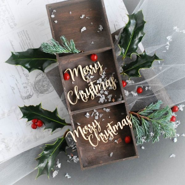 merry christmas word set decorative laser cut chipboard