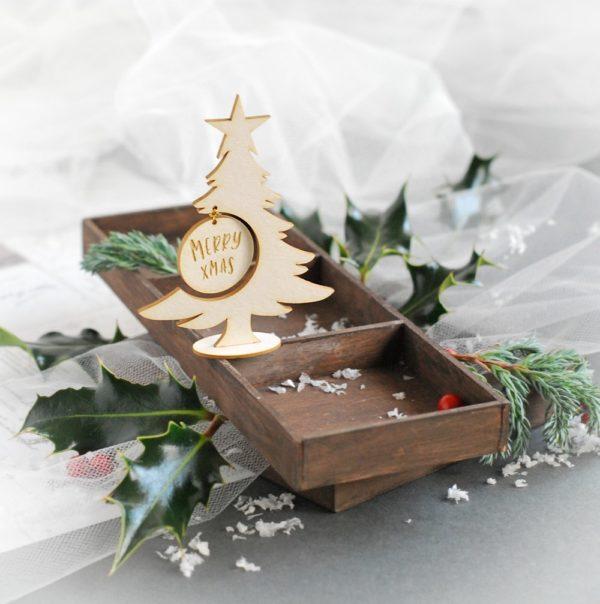 3d merry xmas christmas tree decorative laser cut chipboard