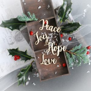 peace joy hope love word set decorative laser cut chipboard
