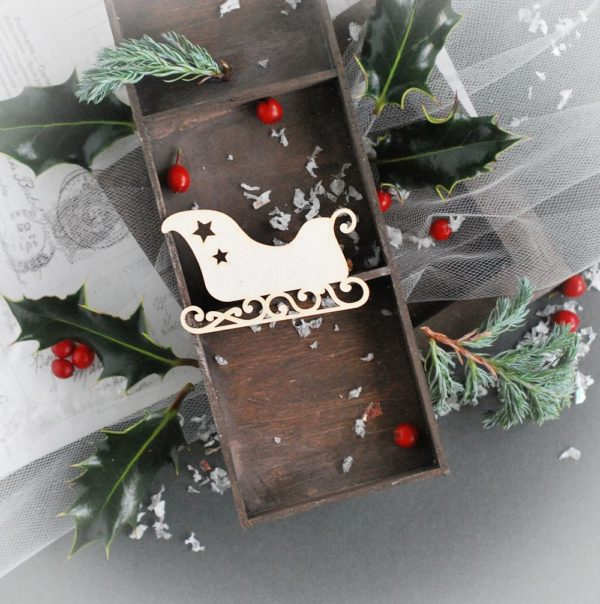 christmas sleigh decorative laser cut chipboard