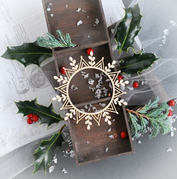 snowflake frame decorative laser cut chipboard