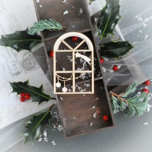 2 layer christmas window frame with buables and star decorative laser cut chipboard