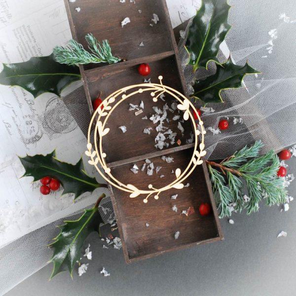 christmas wreath decorative laser cut chipboard frame