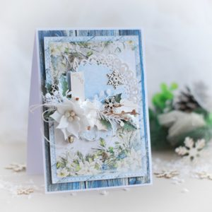 handmade christmas card decorated with laser cut candle and handmade flower