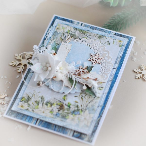 handmade christmas card with handmade flower and laser cut candle
