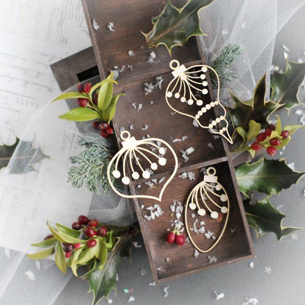 christmas decorative bauble set laser cut chipboards