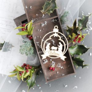 christmas bauble with nativity scene laser cut chipboard