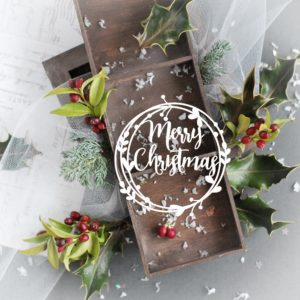 merry christmas decorative laser cut chipboard wreath frame