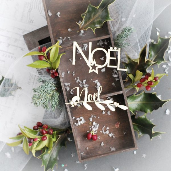 noel decorative laser cut chipboard word set