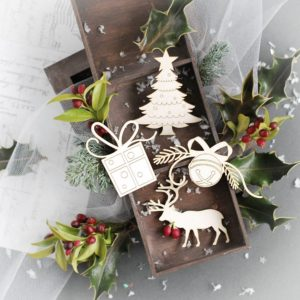 christmas tree, present reindeer and bell decorative laser cut chipboards