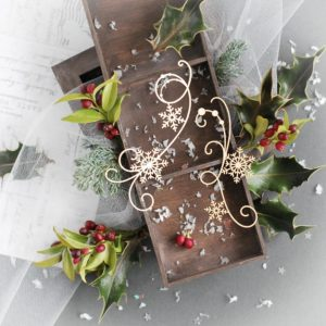 swirls with snowflakes decorative laser cut chipboard set