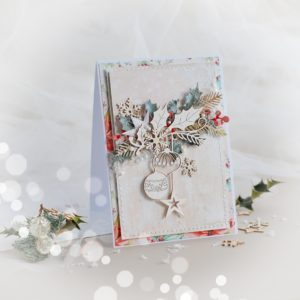 handmade christmas card with laser cut baubles and snowflakes