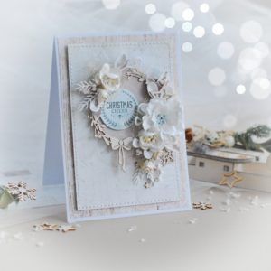 handmade christmas cheer card decorated with wreath frame and flowers