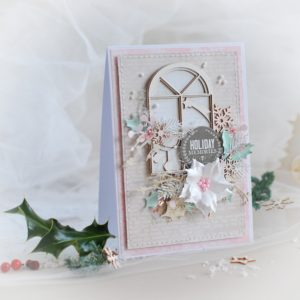 holiday memories handmade christmas card with window and handmade poinsettia