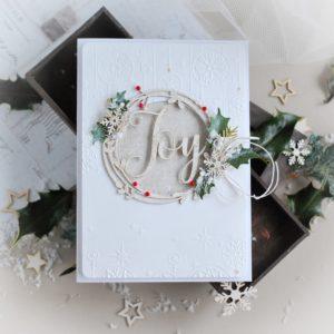 Handmde christmas card with joy wreath