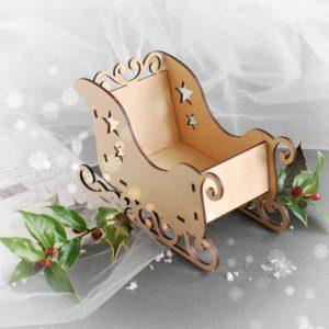 large mdf laser cut 3d santa sleigh