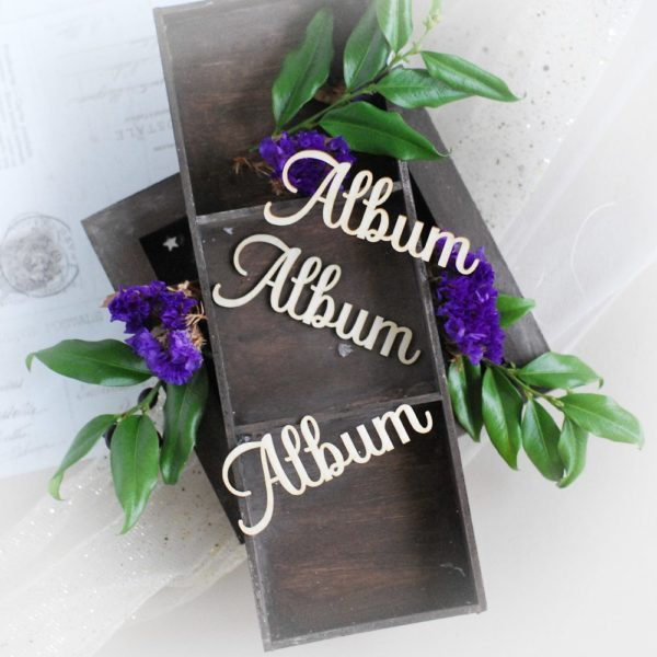 album decorative laser cut chipboard word set