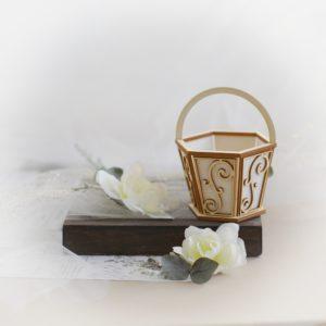 3d flower basket decorative laser cut chipboard