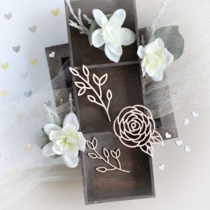 floral rose and branches decorative laser cut chipboards