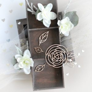 floral rose and leaves decorative laser cut chipboards