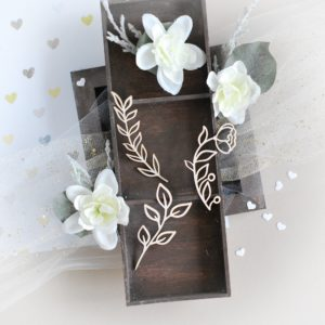 flower and branches decorative laser cut chipboards