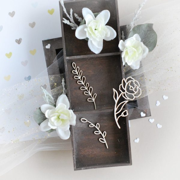 floral elements flower and branches decorative laser cut chipboard