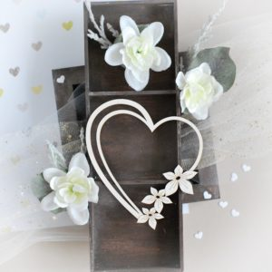 heart with flowers decorative laser cut chipboard
