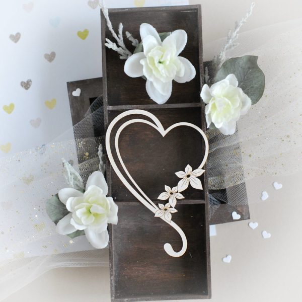 heart with swirl and flowers decorative laser cut chipboard