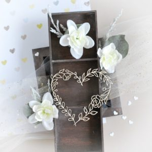 floral heart decorative laser cut chipboard