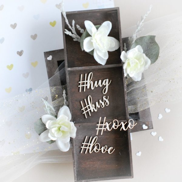 love hug kiss xoxo with hashtag decorative laser cut chipboards