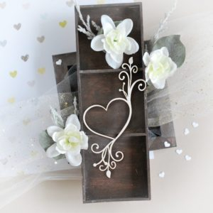 heart with flourishes decorative laser cut chipboard