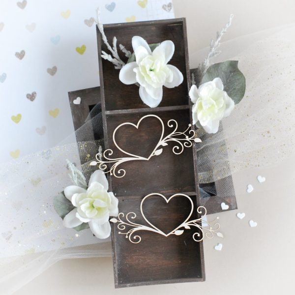 set of two hearts with flourishes decorative laser cut chipboards
