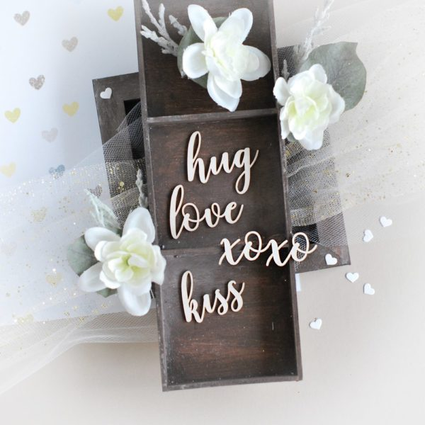 love hug kiss xoxo decoraive laser cut chipboards