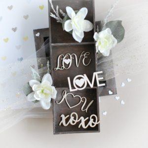 love , xoxo , i love you decorative laser cut chipboard