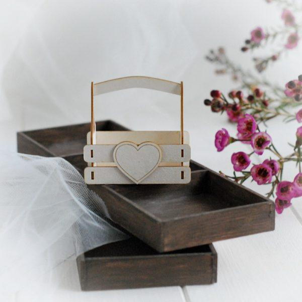 3d flower box laser cut chipboard with heart