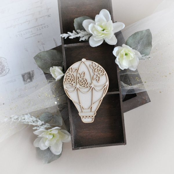 2 layer hot air balloon with roses laser cut chipboard