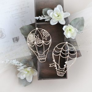 set of two hot air balloons decorative laser cut chipboard