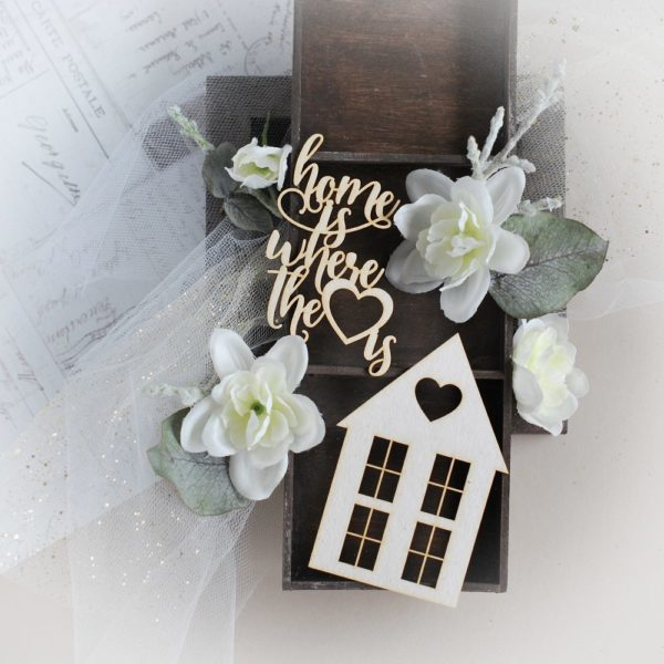 home is where the heart is decorative laser cut chipboard