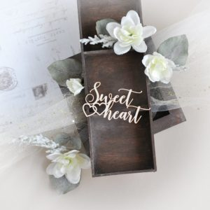 sweet heart decorative laser cut chipboard with two hearts