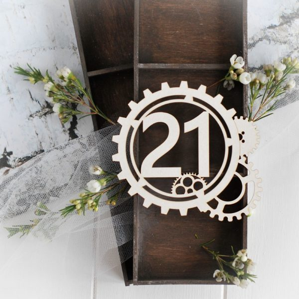 steampunk collection gear frame with number 21 decorative laser cut chipboard