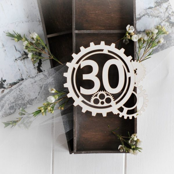 steampunk collection gear frame with number 30 decorative laser cut chipboard
