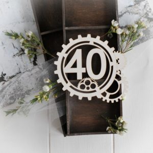 steampunk collection gear frame with number 40 decorative laser cut chipboard
