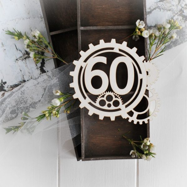 steampunk collection gear frame with number 60 decorative laser cut chipboards