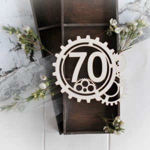 steampunk collection gear frame with number 70 laser cut chipboard