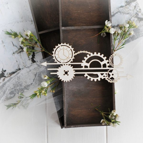 steampunk collection arrows with gears and clock decorative laser cut chipboard