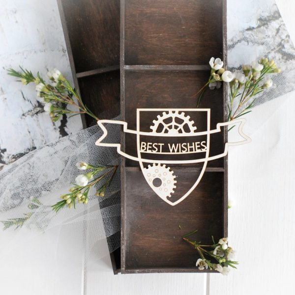 steampunk collection best wishes banner with gears decorative laser cut chipboard