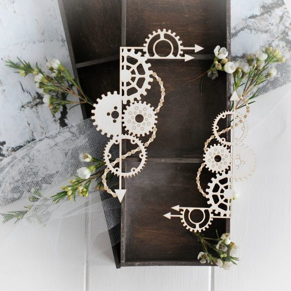 steampunk collection set of two corners with gears and arrows decorative laser cut chipboard